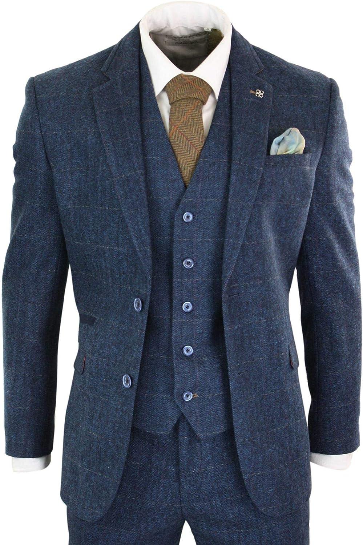 House Of Cavani Mens Tweed Check Herringbone Blue Navy Tailored Fit Trousers Regular Length Peaky Blinders
