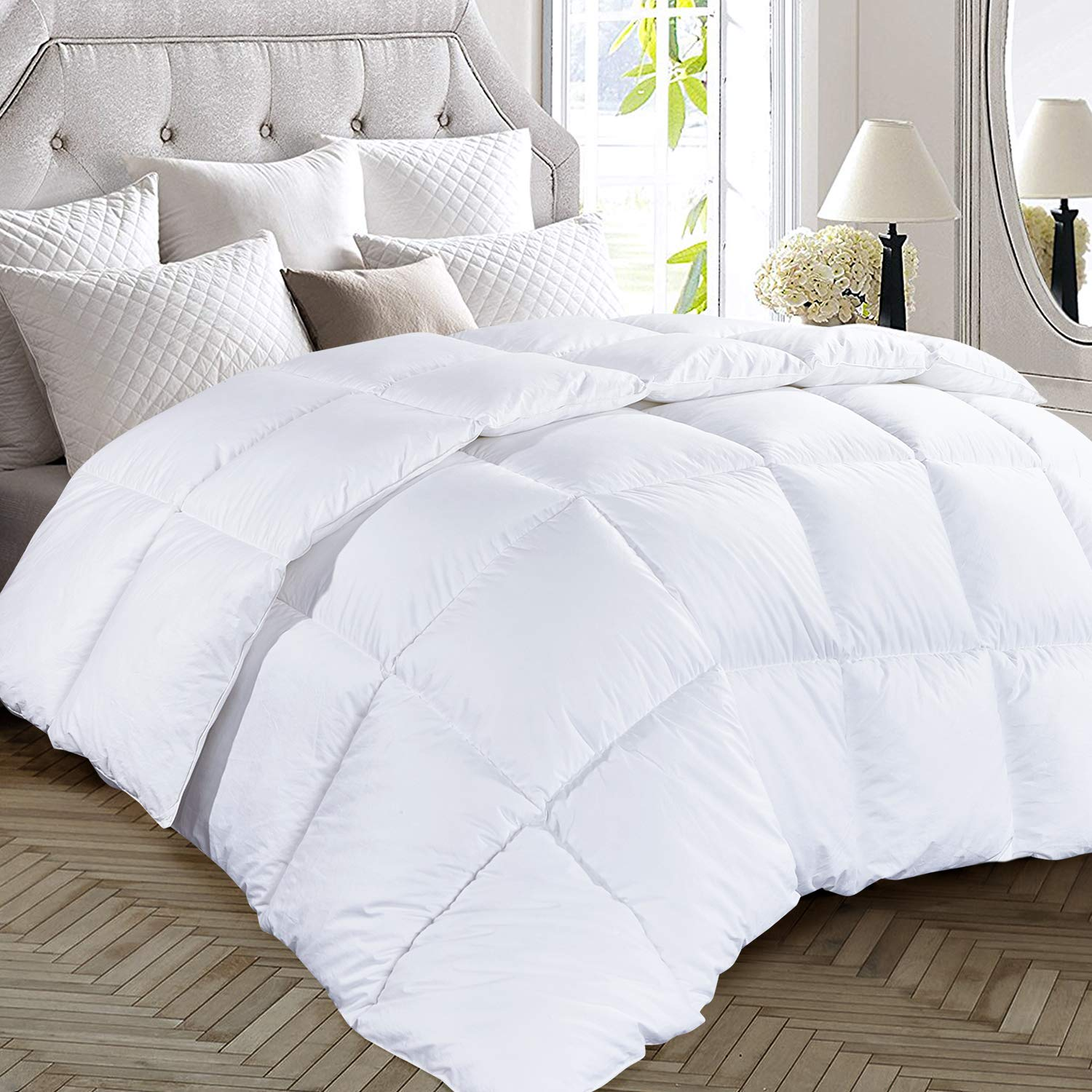 OHAPPES Wh Queen Comforter Soft Cooling Goose Down Alternative Insert - Microfiber Fill - 8 Corner Duvet Tabs - All Seasons - Hypoallergenic - Fluffy Warm White - 88 by 88 Inches, Full