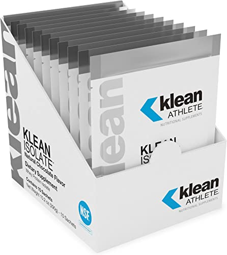 Klean Athlete – Klean Isolate – Whey Protein Isolate Enhances Daily Protein and Amino Acid Intake for Muscle Integrity – NSF Certified for Sport – 10 Sachets – Natural Chocolate Flavor