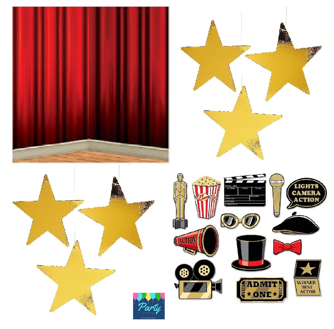 FAKKOS Design Hollywood Red Carpet Awards Ceremony Party Theme Supplies and Decorating Pack - 3 Items - Glitter Photo Props, Red Curtain Back Drop And 24 Gold Metallic Hanging Stars