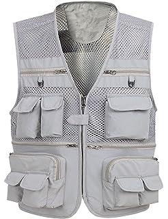 Zhusheng Mens Mesh  Pockets Photography Fishing Travel Outdoor Quick Dry Vest Breathable Waistcoat Jackets