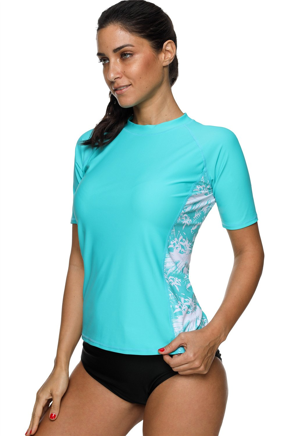 maysoul Women Sun Protection Rash Guard Floral Swim Shirt Wetsuits Aqua Medium