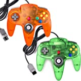 miadore 2 Packs Classic 64 Wired Controller Joystick for N64 Video Game System N64 Console (Jungle Green and Orange)