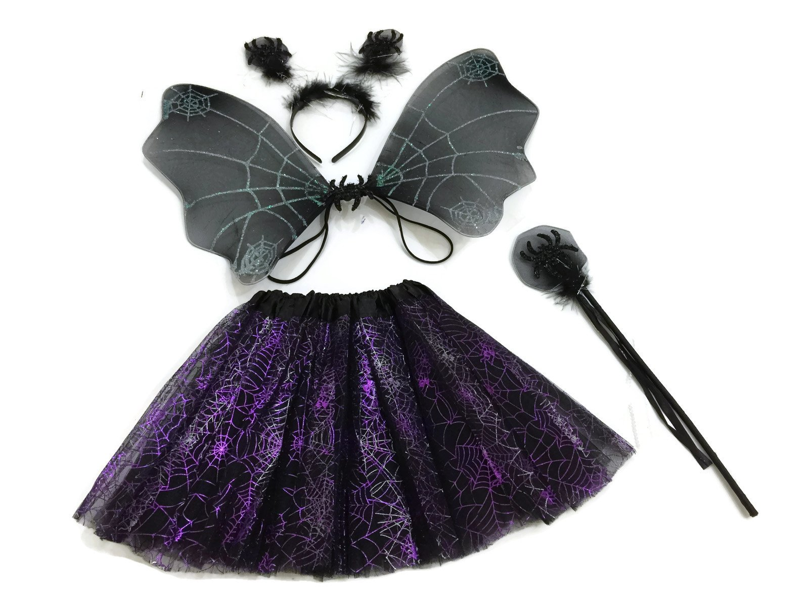 - 7175YSHjIIL - Rush Dance Halloween Black & Purple Spider Fairy- Wings, Wand, Headband & Tutu