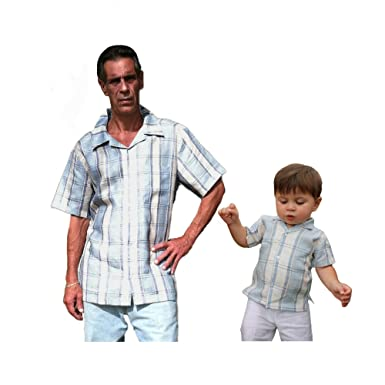 f35aa1f7 Aby's Kids Father and Son Matching Linen Shirts-Small Plaid Beige/blue