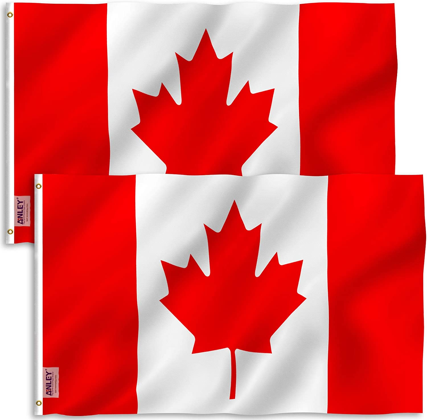 Canvas Header and Double Stitched Canadian National Flags Polyester with Brass Grommets 3 X 5 Ft Vivid Color and UV Fade Resistant Anley Pack of 2 Fly Breeze 3x5 Foot Canada Flag