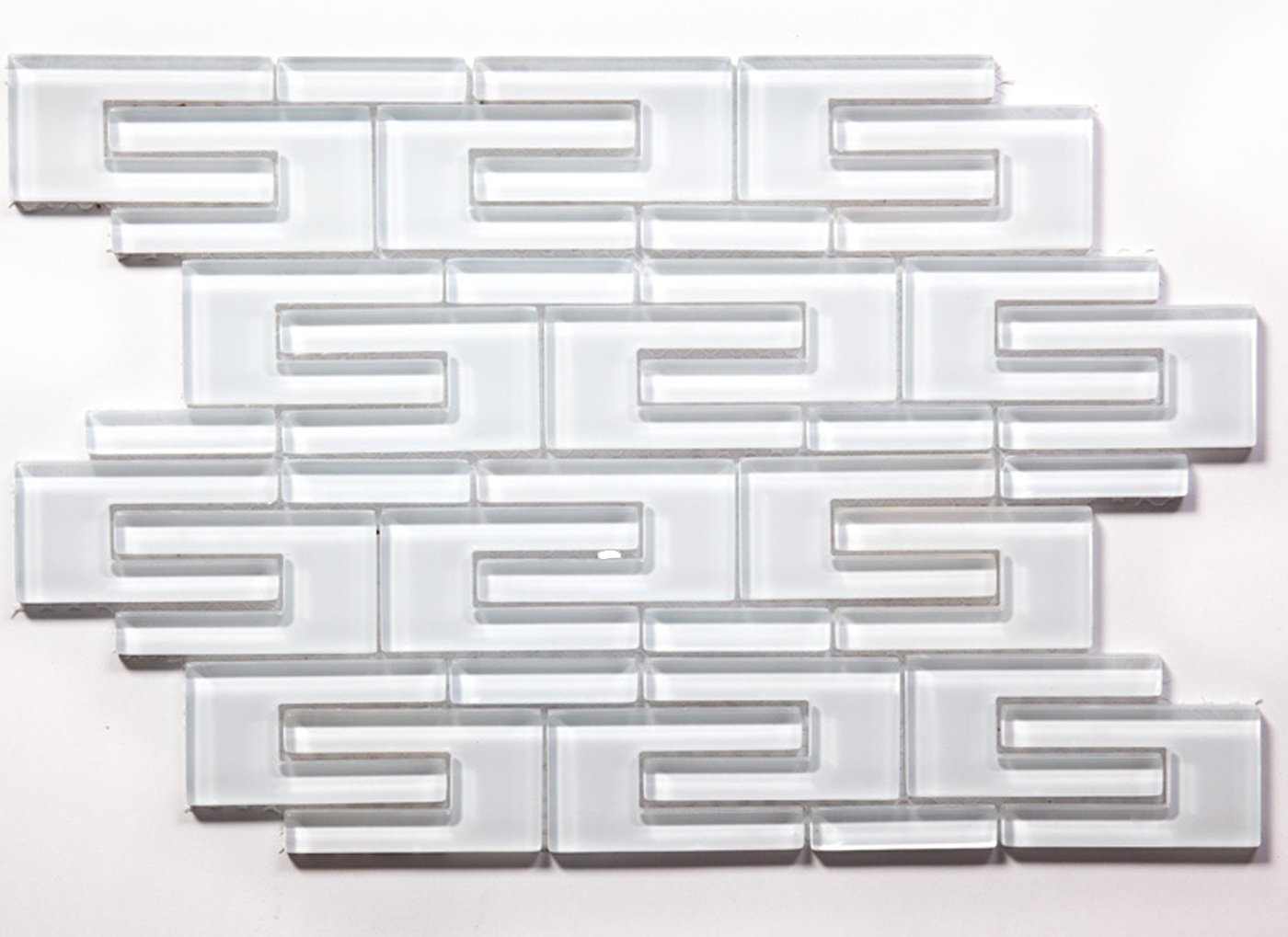 Super White C Channel Water Jet Mosaic Glass Tile / 11 sq ft