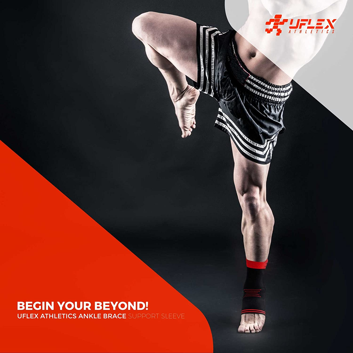 166d22a9ad Amazon.com : UFlex Athletics Ankle Brace Support Sleeve for Post Surgery  Treatment, Swelling Reduction, Pain Relief, Ankle Stabilizing and  Compression, ...