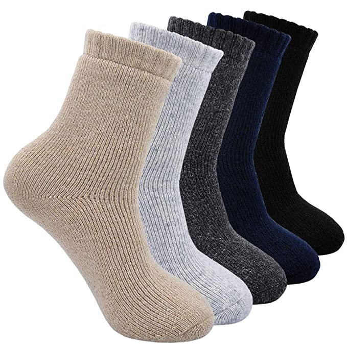 Calcetines de Lana Cálidos de Confort Casual de Hombre de Invierno, Calcetines Termicos Gruesa Suave Cómodo, 5 pares: Amazon.es: Ropa y accesorios