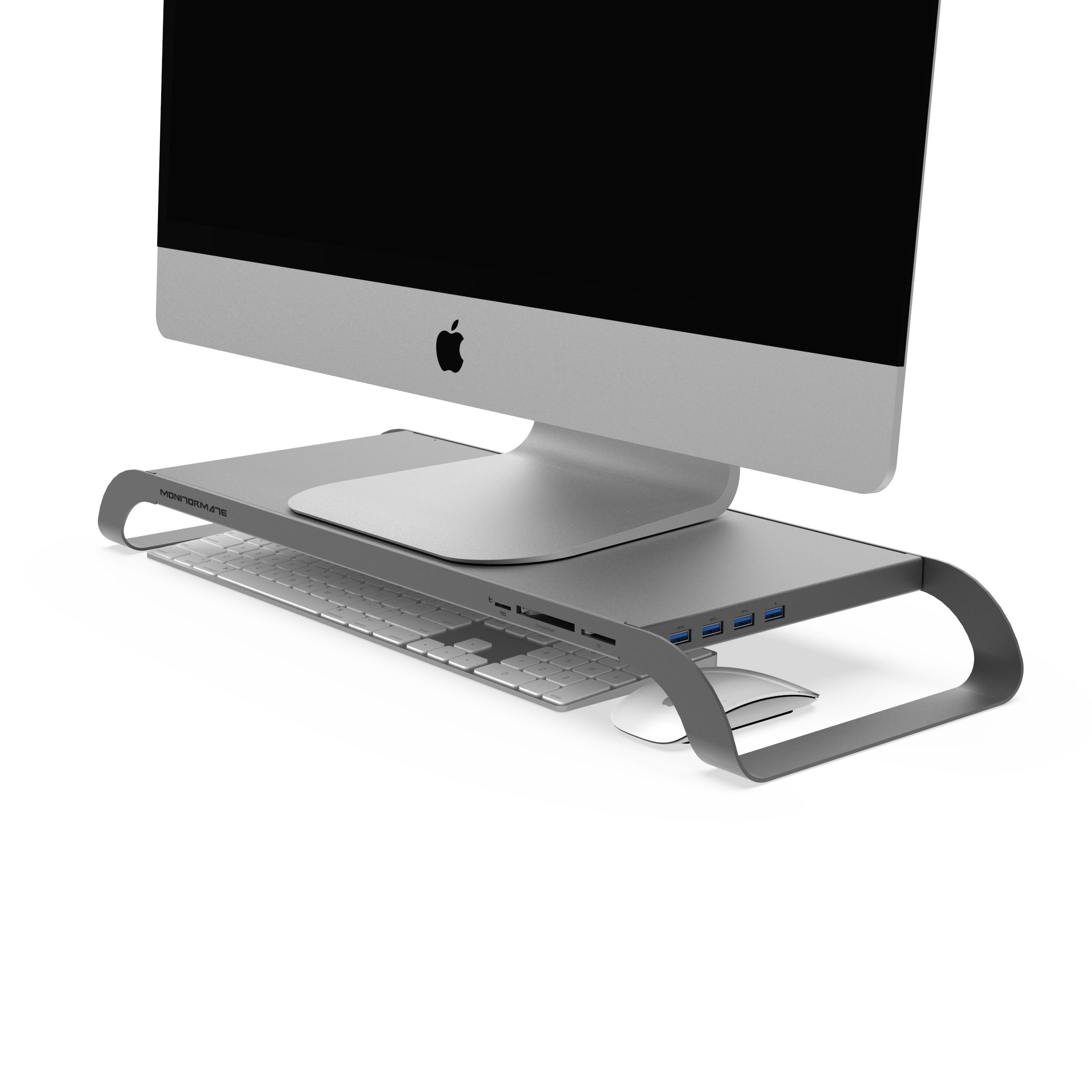 MonitorMate ProStation Aluminum Monitor Stand with USB3.0 hub, Card-Reader, Fast Charger, Hard Drive storage and external power supply(Gray)