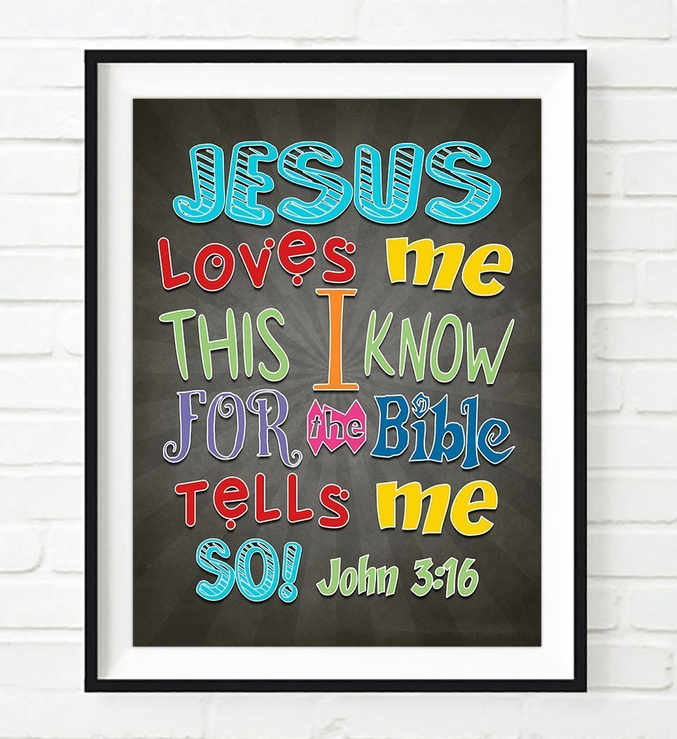 Jesus Loves Me this I know for the Bible Tells me so - John 3:16 - Vintage verse scripture ART PRINT, UNFRAMED Christian Childrens nursery wall decor poster gift, 8x10 inches by Art for the Masses