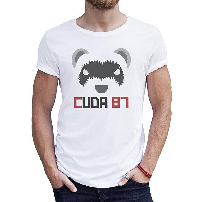 6a98e8c64cfd49 Cuda 87 Animal Skunk Cute Bear Face Logo XXL Hombres T-Shirt  Amazon.es   Ropa y accesorios