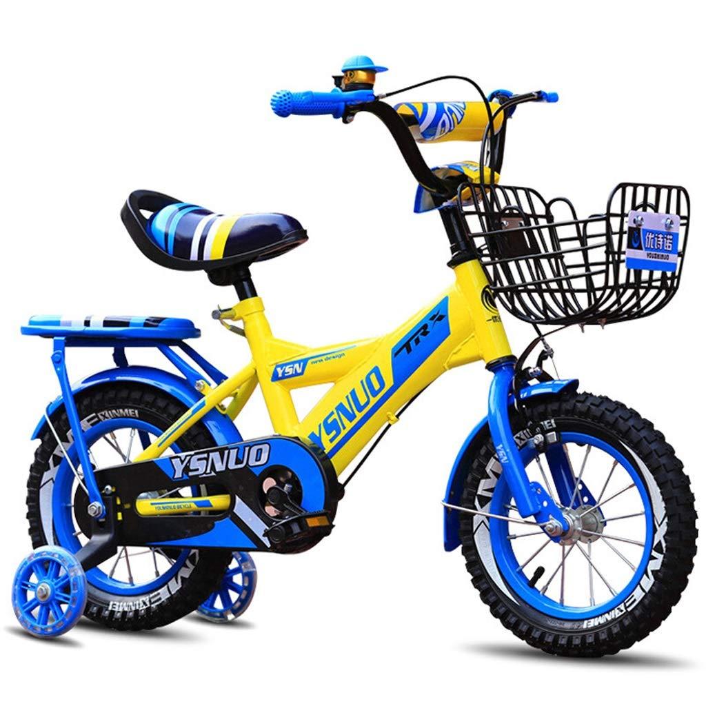 Biciclette per bambini con ruota ausiliaria illuminata, Triciclo pedale per bimbo, Bicicletta per bambini 2-11 anni, Telaio per bicicletta in acciaio al carbonio con cesto 4 dimensioni (12 pollici   1