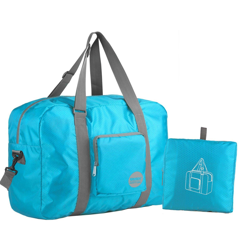 Wandf Foldable Travel Duffel Bag Luggage Sports Gym Water Resistant Nylon, Blue by WANDF (Image #1)