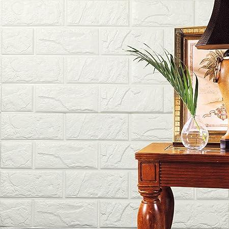 Gris hunpta PE Mousse Papier peint en 3D Bricolage Autocollants muraux D/écor mural en relief Brique en pierre