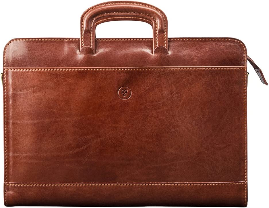 Maxwell Scott Italian Crafted Leather Portfolio – Barolo Tan