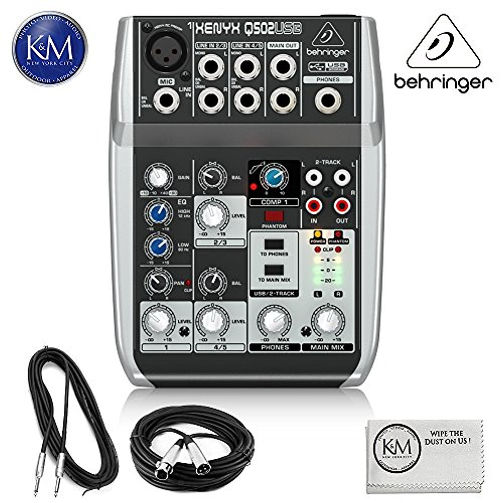 Behringer Xenyx Q502USB Premium 5-Input 2-Bus Mixer + 1 x 20ft Structure XLR Cable + 1 x 18.6 ft Strukture Instrument Cable + K&M Micro Fiber Cloth Bundle