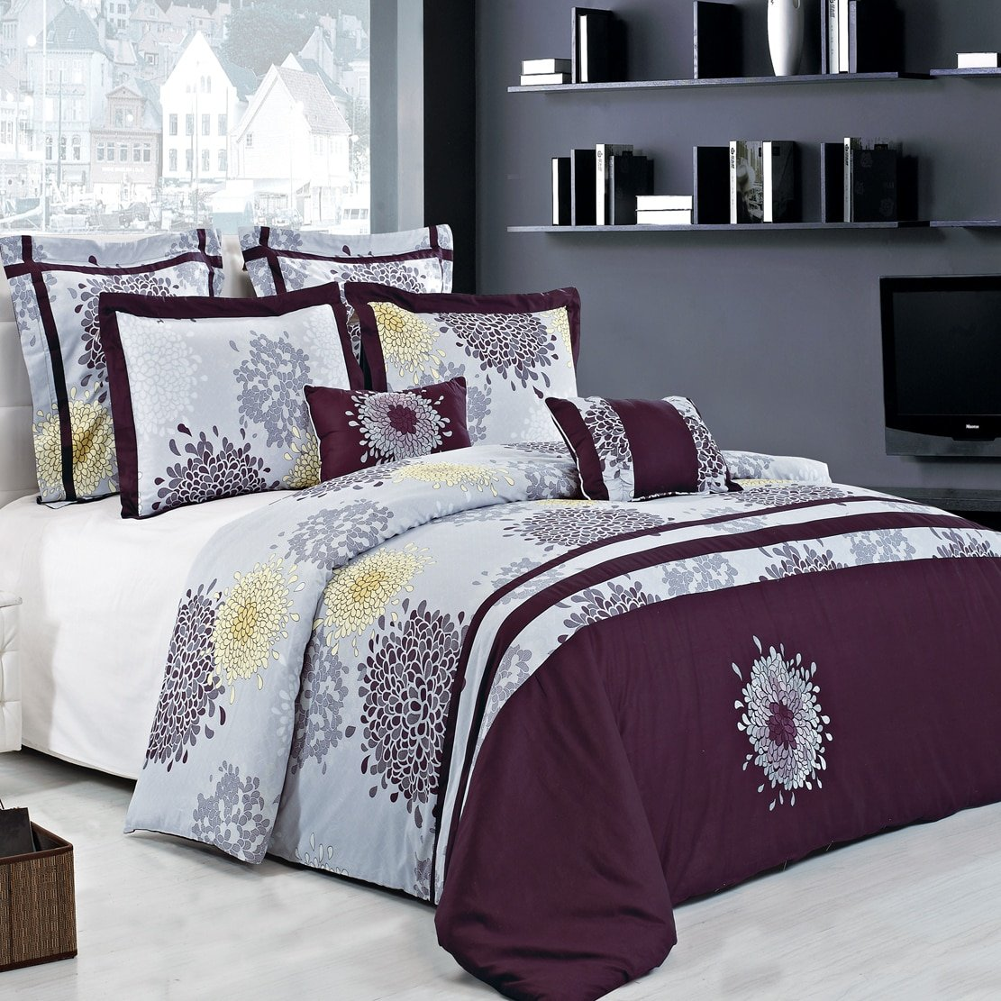 King Size Fifi Lilac and Plum 14PC Bed in a Bag set including: 7pc Duvet Cover Set, 1pc Down Alternative Comforter, set of 2 Down Alternative Pillows and a 4pc Sheet Set.