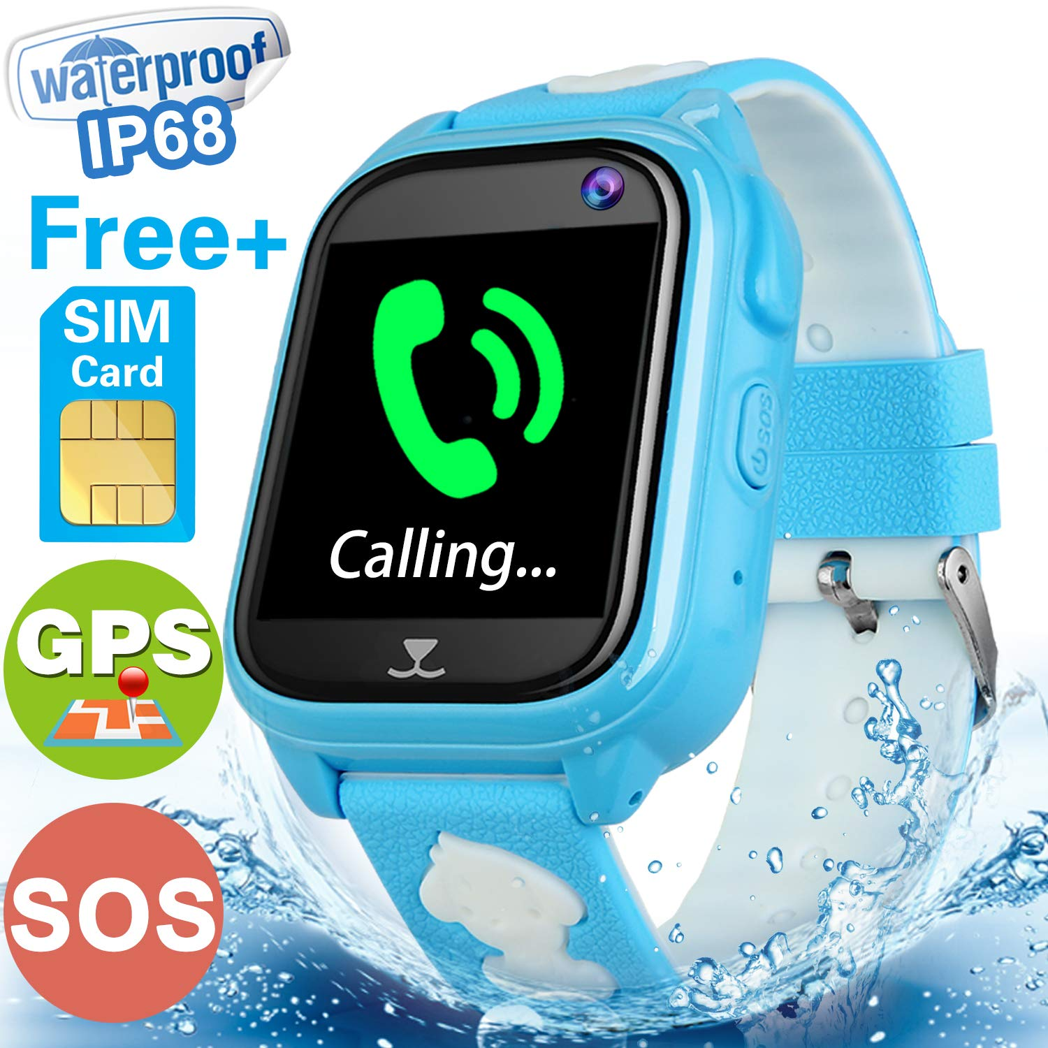 [FREE SIM Included]Kids Smart Watch Phone GPS Tracker for Boys Girls IP68 Waterproof Fitness Tracker Watch SOS Anti-Lost Camera Game Sport Outdoor Wristband Electronic Learning Toys for IOS/Android