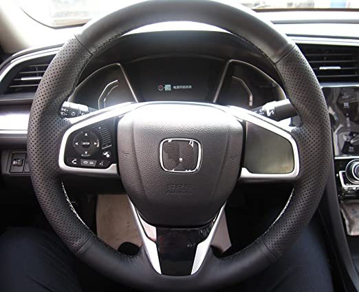 Leather Steering Wheel Cover Stitch on Wrap for 10th Honda Civic 2016-2019 //CR-V