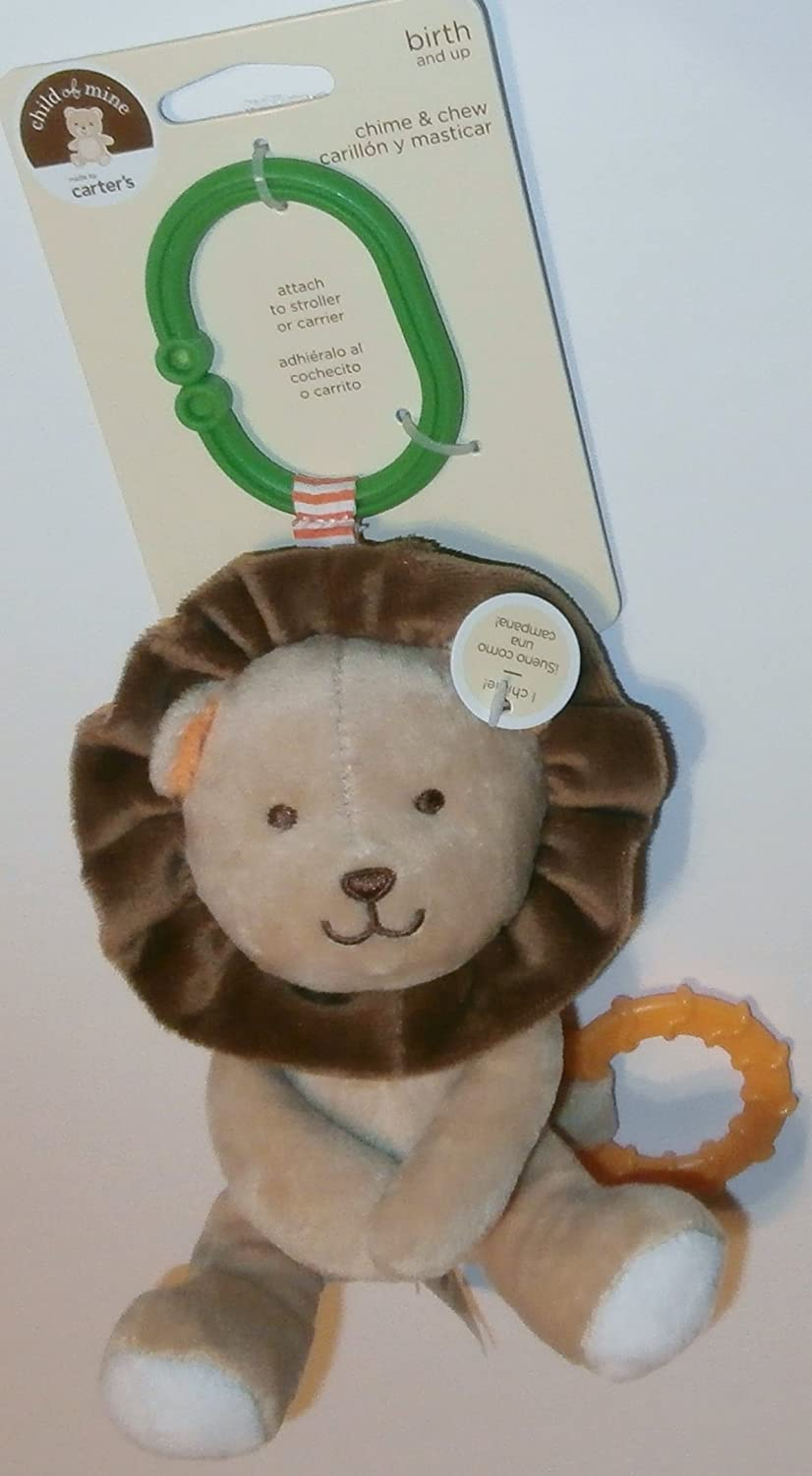 Amazon.com : Child of Mine Chime and Chew Soft Plush - Brown Lion with Teething Ring and Chime : Baby