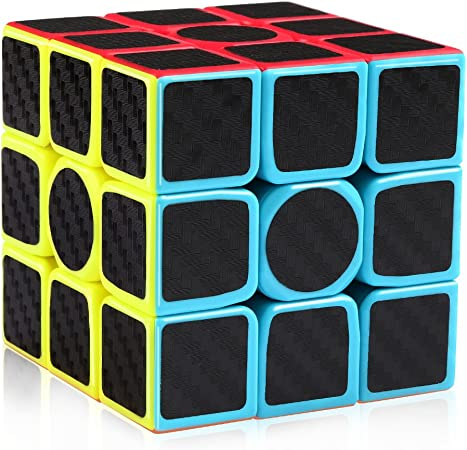 D-FantiX Carbon Fiber 3x3 Speed Cube 3x3x3 Magic Cube Puzzle Brain Teaser Toys for Kids Adults