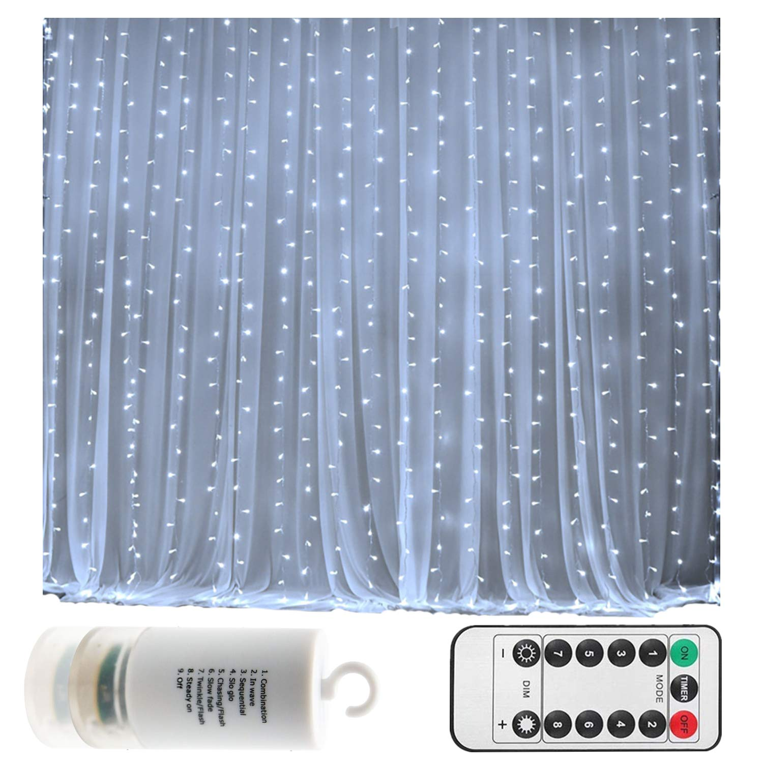 Battery Operated 300 LED Curtain String lights w/ Remote & Timer, Outdoor Curtain Icicle Wall Lights For Wedding Backdrops, Christmas, Holiday, Camping Decoration (9.8×9.8ft, Dimmable, Cool White)