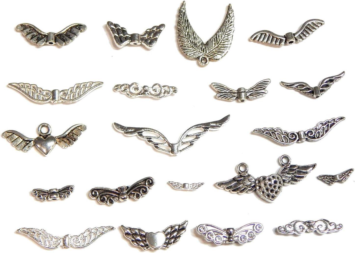Perlin alas de ángel, 20 Modelos Diferentes, 40 Unidades, Metal, alas de ángel, Entre Perlas, Colgante, Colgante de Metal para Collar, Mezcla de Joyas DIY