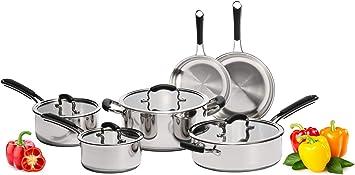 Amazon.com: Juego de ollas y sartenes de acero inoxidable ...