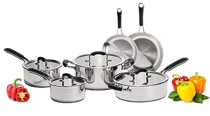 Amazon Com Stainless Steel Pots And Pans Set 10 Piece Titan