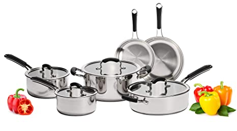 Stainless Steel Pots and Pans Set: 10 Piece Titan Cookware Tri Ply Full  Kitchen Set - Cooking Starter Kit with 2 Frying Pans, 1 Saute Pan with Lid,  2 ...