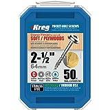 "Kreg SML-C250S5-50 305 Stainless-Steel Pocket-Hole Screws, 2-1/2"" #10 Coarse-Thread, Washer-Head (50 Count)"