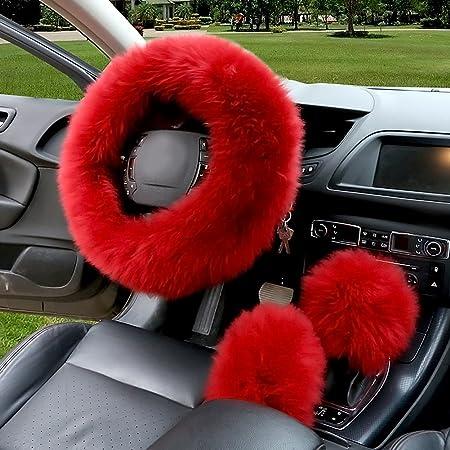 Rosa Surenhap 3 PCS Coprivolante Protettivo per Auto Coprivolante Caldo Morbido Tessuto di Peluche per Accessori Freno a Mano per Auto