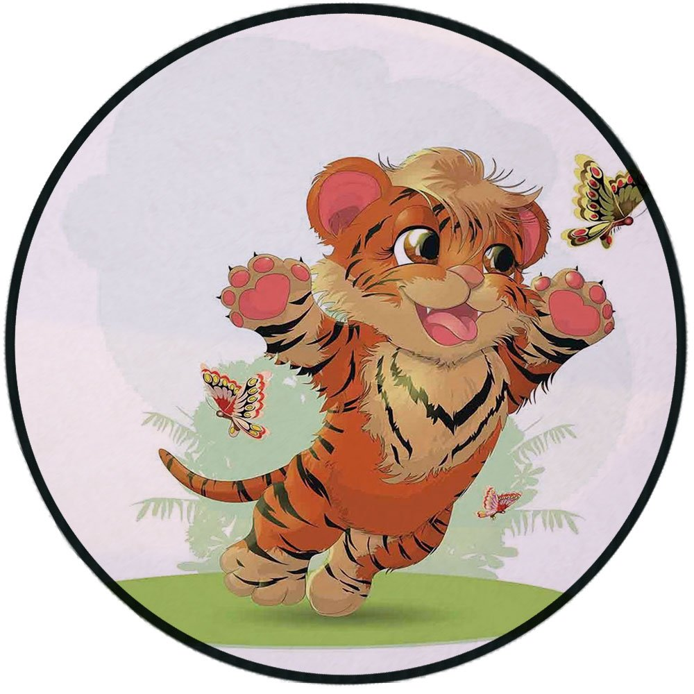 Printing Round Rug,Cartoon Decor,Little Cub Playing with Butterflies in the Meadow Joyful Lively Baby Tiger Cat Mat Non-Slip Soft Entrance Mat Door Floor Rug Area Rug For Chair Living Room,Orange Crea