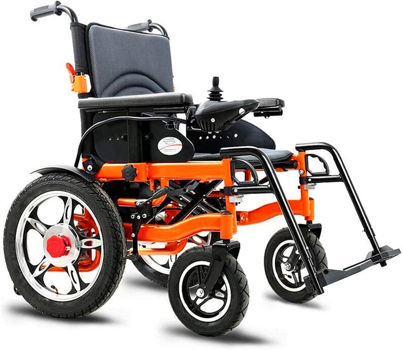 Sillas de ruedas eléctricas para adultos Deluxe eléctrico ligero silla de ruedas plegable y Fold Power Wheel Chair 360 ° Joystick Potente motor de doble asiento Ancho 51cm, naranja, 15AH Para los anci
