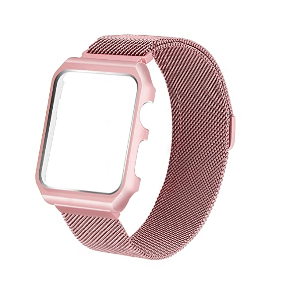 best cheap de0d7 31491 for Apple Watch Band 38mm Magnetic Clasp Mesh Milanese Loop Stainless Steel  iWatch Band with Metal Case Shockproof Protective Bumper for Apple Watch ...