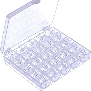 Mudder Plastic Sewing Machine Bobbins with Storage Case for Brother Janome Singer Elna Sewing Machine, Transparent, 25 Pieces