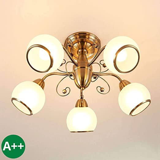 Lámpara de techo Corentin (Retro, Vintage) en Bronce hecho ...