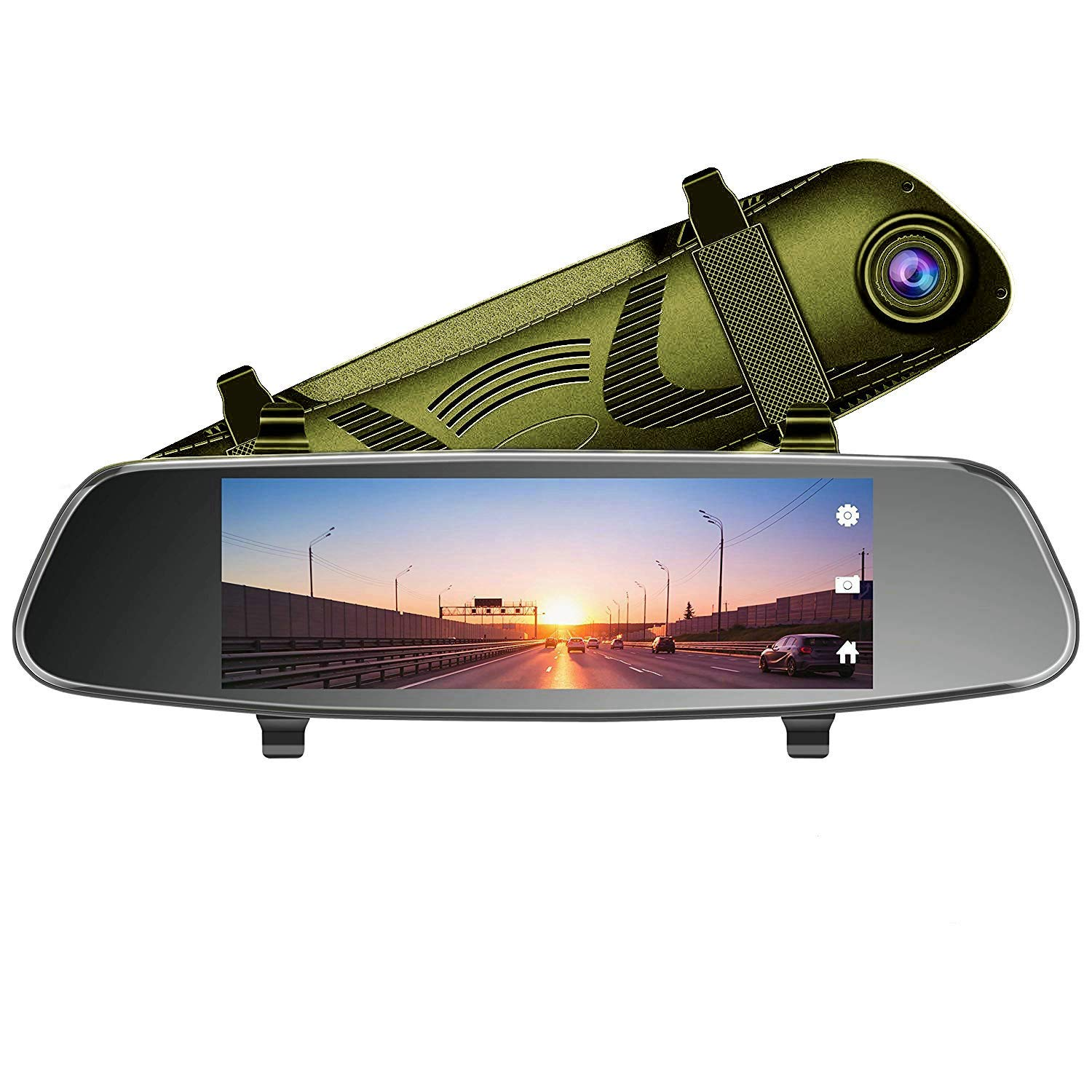 AUKEY Dash Cam Mirror 6.8'' LCD Touchscreen Car Camera with Backup Camera and Parking Mode 1080p 170° Front Camera and 720p 160° Water-Resistant Rear Camera-Green
