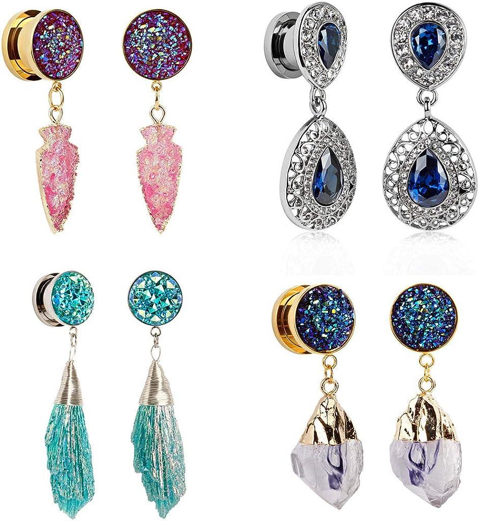 TBOSEN Set Of 8pcs Sapphire Crystal Dangle Pendant Ear Plugs Stainless Steel Screw Ears Tunnels Gauges Piercings