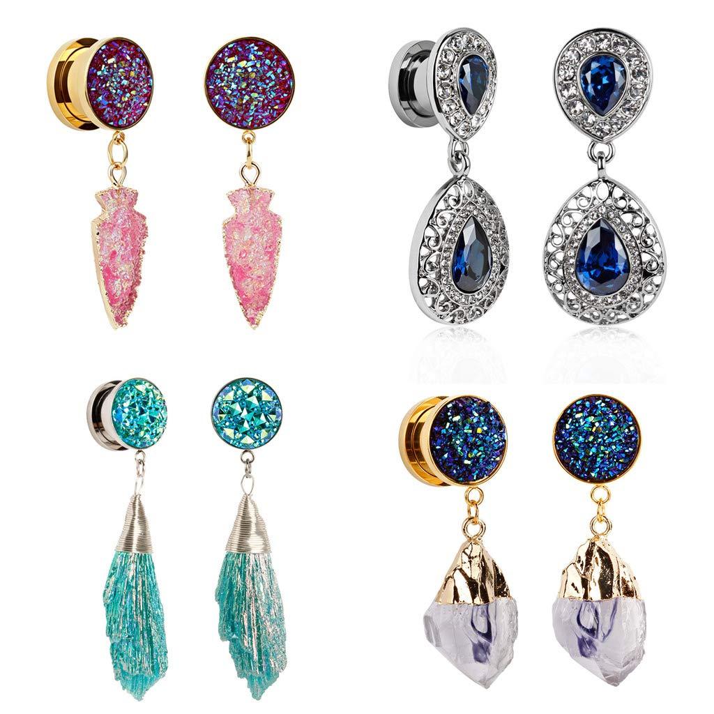 TBOSEN Set Of 8pcs Sapphire Crystal Dangle Pendant Ear Plugs Stainless Steel Screw Ears Tunnels Gauges Piercings by TBOSEN