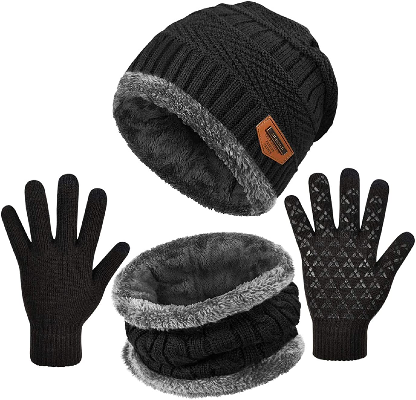 GIKPAL Winter Hat Scarf Gloves Set Fleece Lined Warm Beanie Hat Soft Knitted Neck Warmer Touchscreen Thermal Gloves for Men Women Outdoor Sports Grey