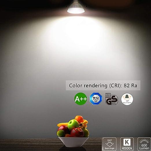 Foco Empotrable, Bojim 6x GU10 LED Luz de Techo 6W equivalente a incandescente 54W Incluye Bombilla GU10 Blanco Natural 4500K 600Lm Ojos de Buey Marco ...