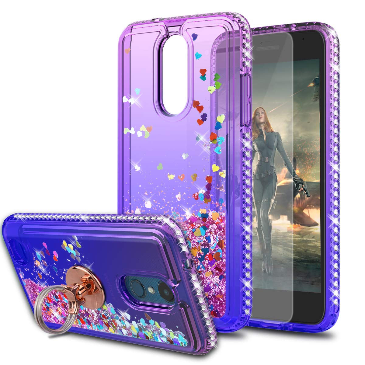 LG Zone 4/Aristo 2/Tribute Empire/Tribute Dynasty/Rebel 4/Phoenix 4/Risio 3/Fortune 2 Case with HD Screen Protector with Ring Holder,KaiMai Glitter Liquid Cute Case for LG Aristo 3-Pueple/Blue Ring