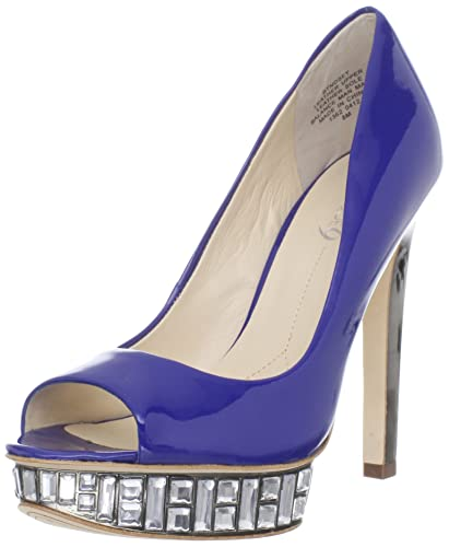 Boutique 9 Women's Nosey PeepToe Pump Blue Size 6.0