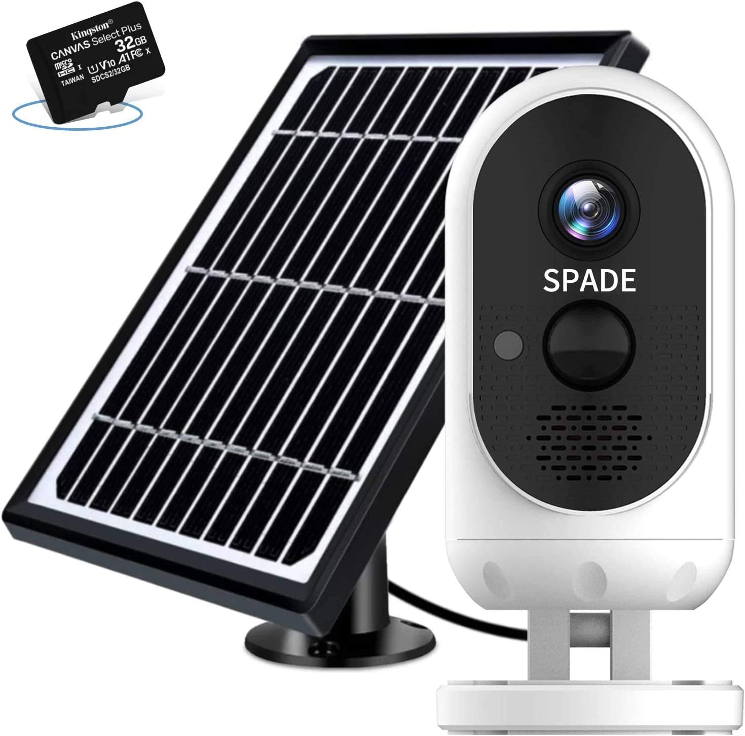 Outdoor Security Camera Wireless,SPADE Solar Powered Camera 7600mAh Battery with FHD 1080P, WiFi Home Surveillance Cam with Night Vision, Instant Alerts, Motion Detection,Two-Way Audio with 32GB Card