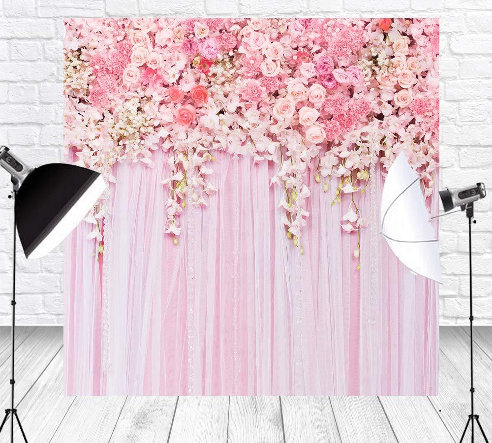 Amazon Com Huayi 10x10ft Rose Flower Backdrop Pink Curtain