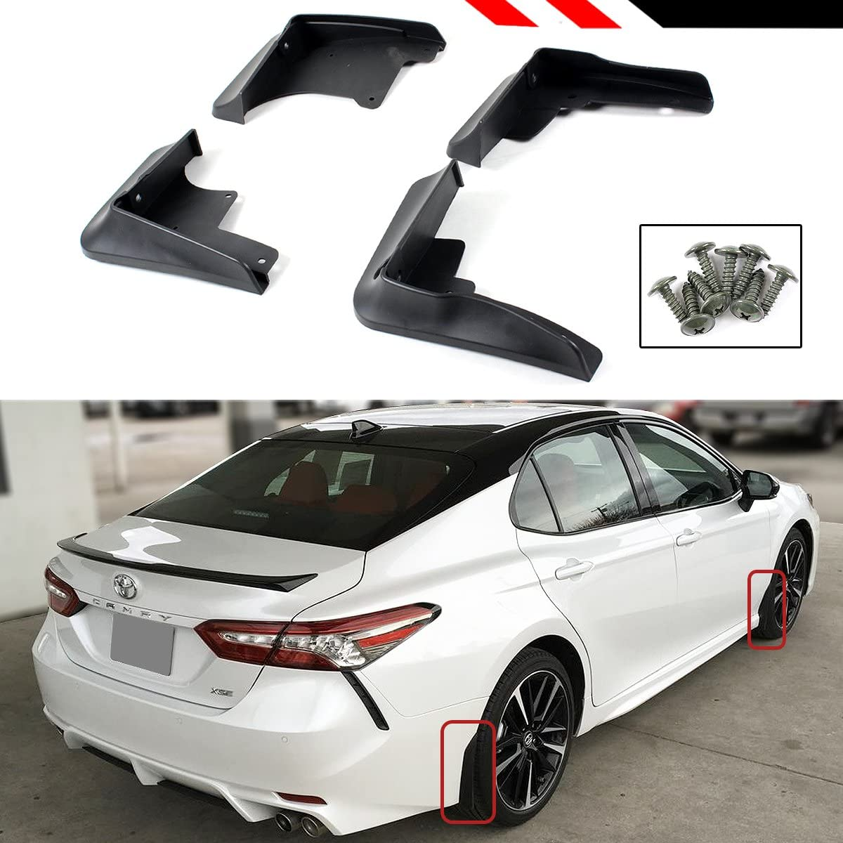 Cuztom Tuning for 2018 Toyota Camry SE XSE Sport 4 PCS Front /& Rear Splash Guard MUD Flap Set