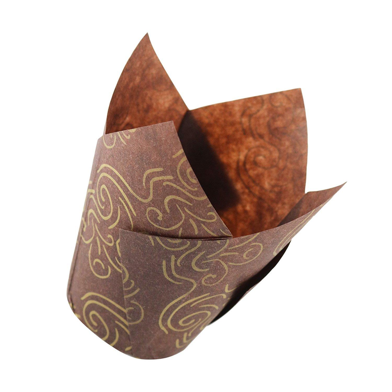 Tulip Einlagen für Muffins oder Cupcakes–Braun und Gold–Groß–120Stück pro Box. Ideal für Standard Größe Zenlogy COMIN18JU093299