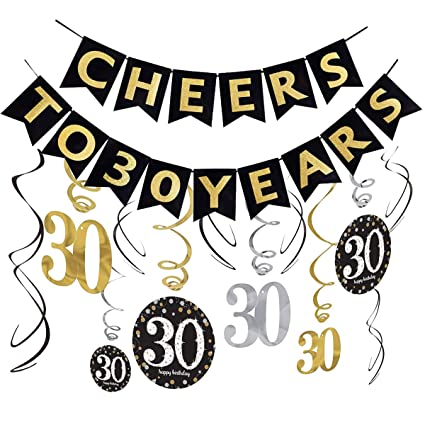 30th Birthday Decorations KitAlready Assembled Cheers To 30 Years Banner BuntingSparkling